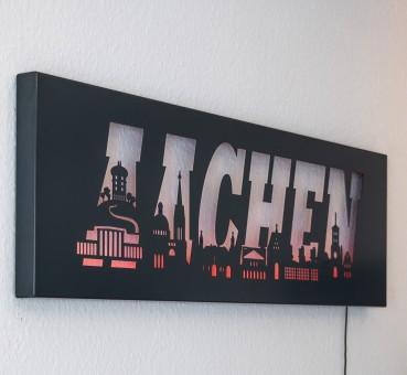 """Skyline Wanddeko Edelstahl """"AACHEN"""" Wandbild Silhouette Bild LED beleuchtet"""