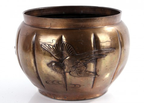 antike Messing Vase Asia asiatisch 18cm hoch
