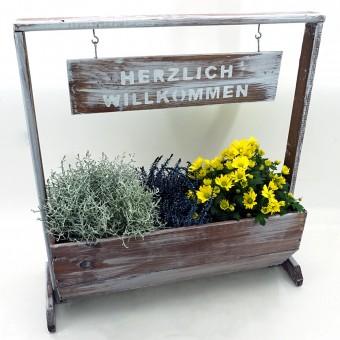 """Pflanzgefäß """"WILLKOMMEN"""" Blumentrog Pflanzkasten Blumenkasten Holz 58 x 29,5cm"""