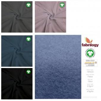 hochwertiger BIO Fleece 100% Baumwolle Stoff UNI 150cm GOTS METERWARE 315g
