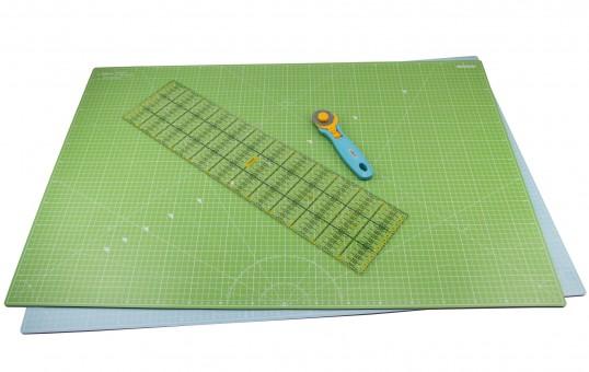 Lialina® / A1 Schneidematte 90 x 60cm + Patchwork Lineal 15 x 60 cm + Rollsch...